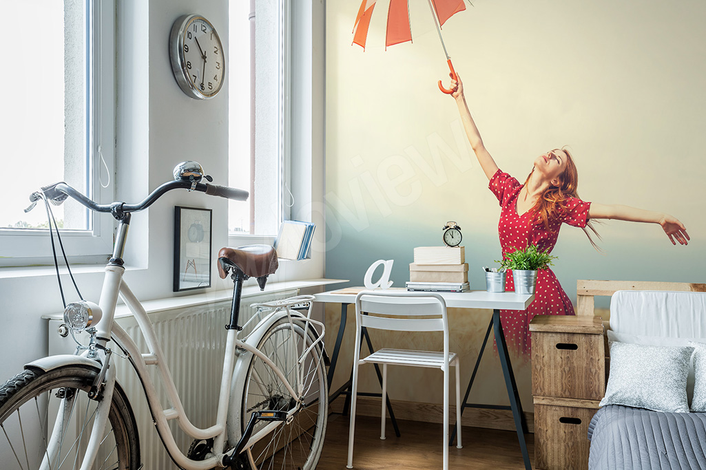 Papier peint femme et parapluie