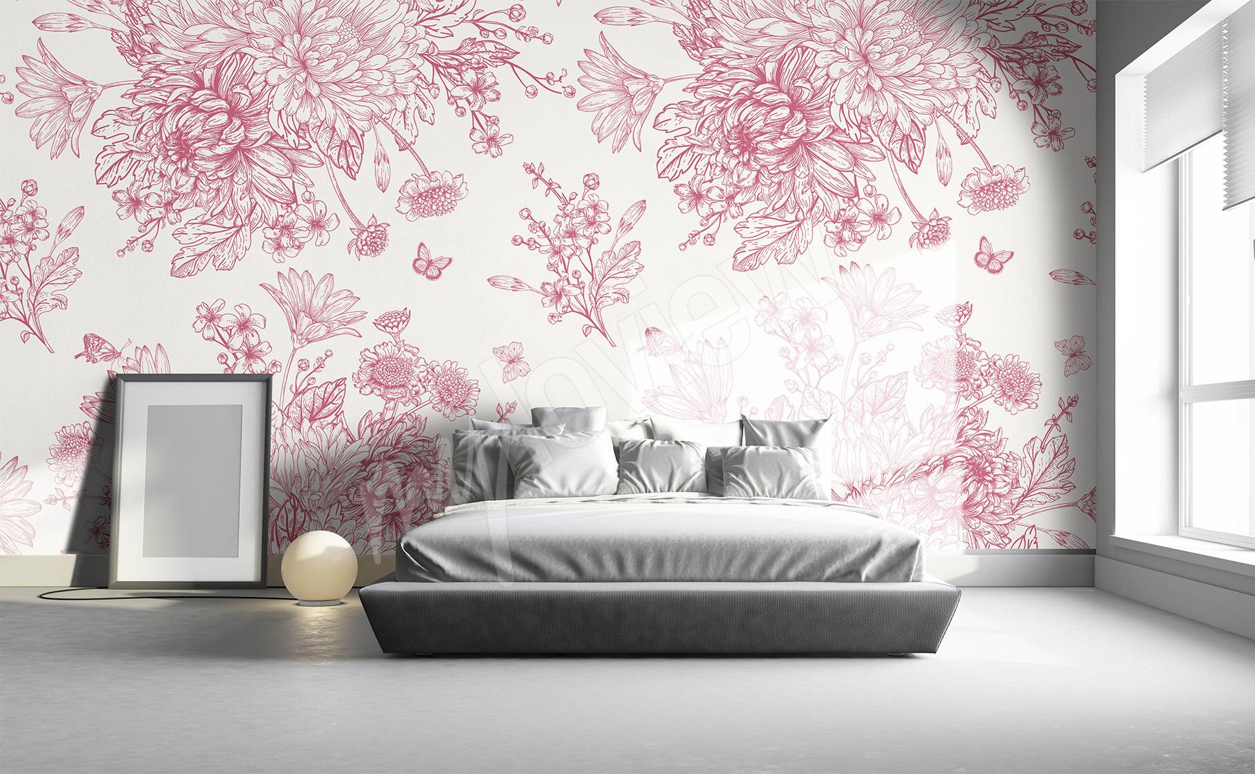 chambre avec papier peint fleuri. Black Bedroom Furniture Sets. Home Design Ideas