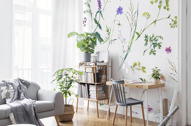 Papier peint fleurs & herbes aromatiques
