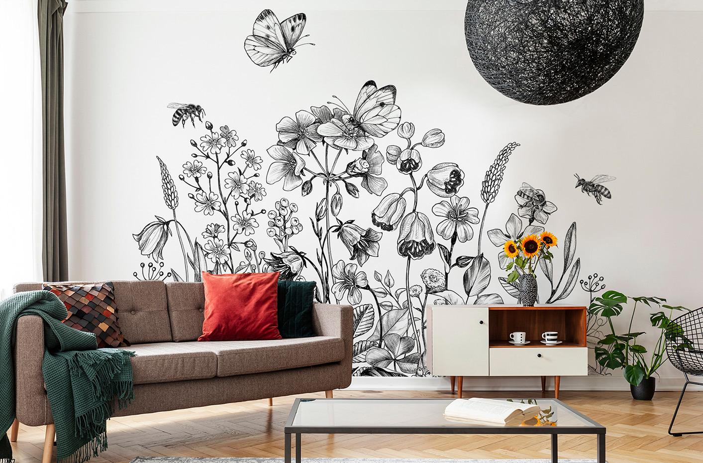 Papier peint papillon sur fleur