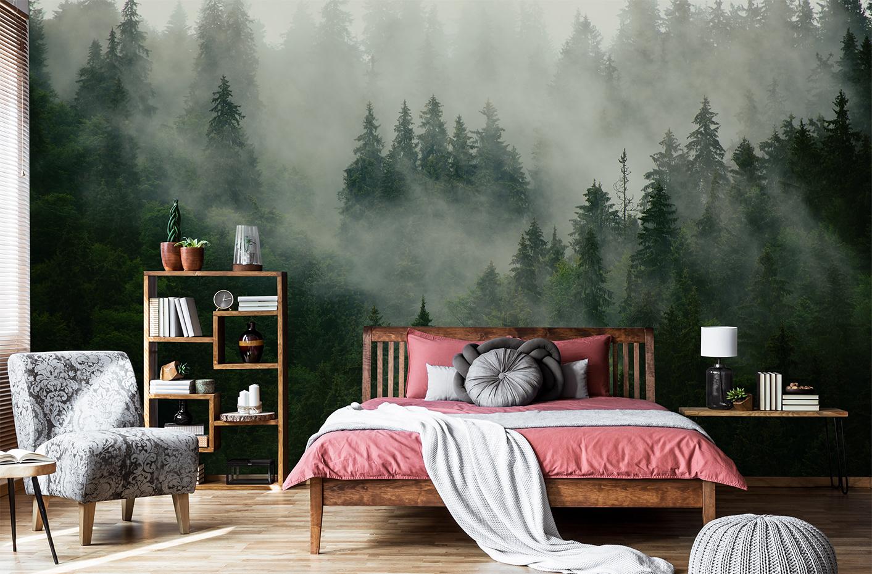 Papier peint forêt brumeuse