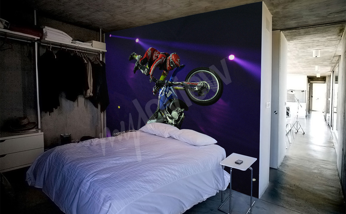 Papiers peints motos mur aux dimensions for Chambre yamaha