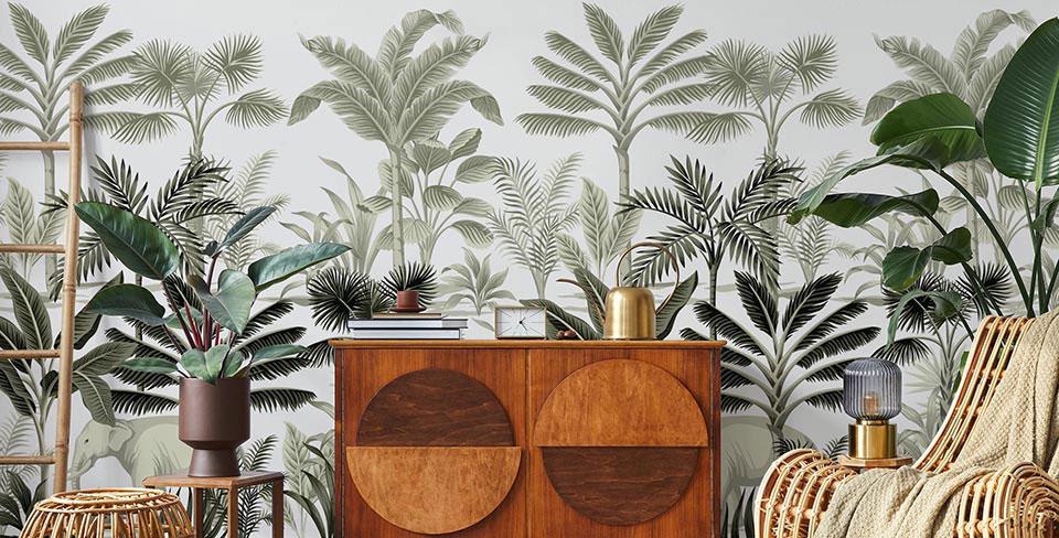Papier peint palmiers vintage