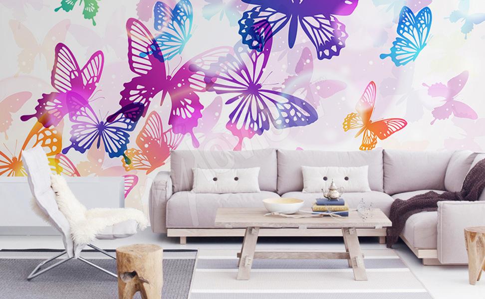 papiers peints papillons mur aux dimensions. Black Bedroom Furniture Sets. Home Design Ideas