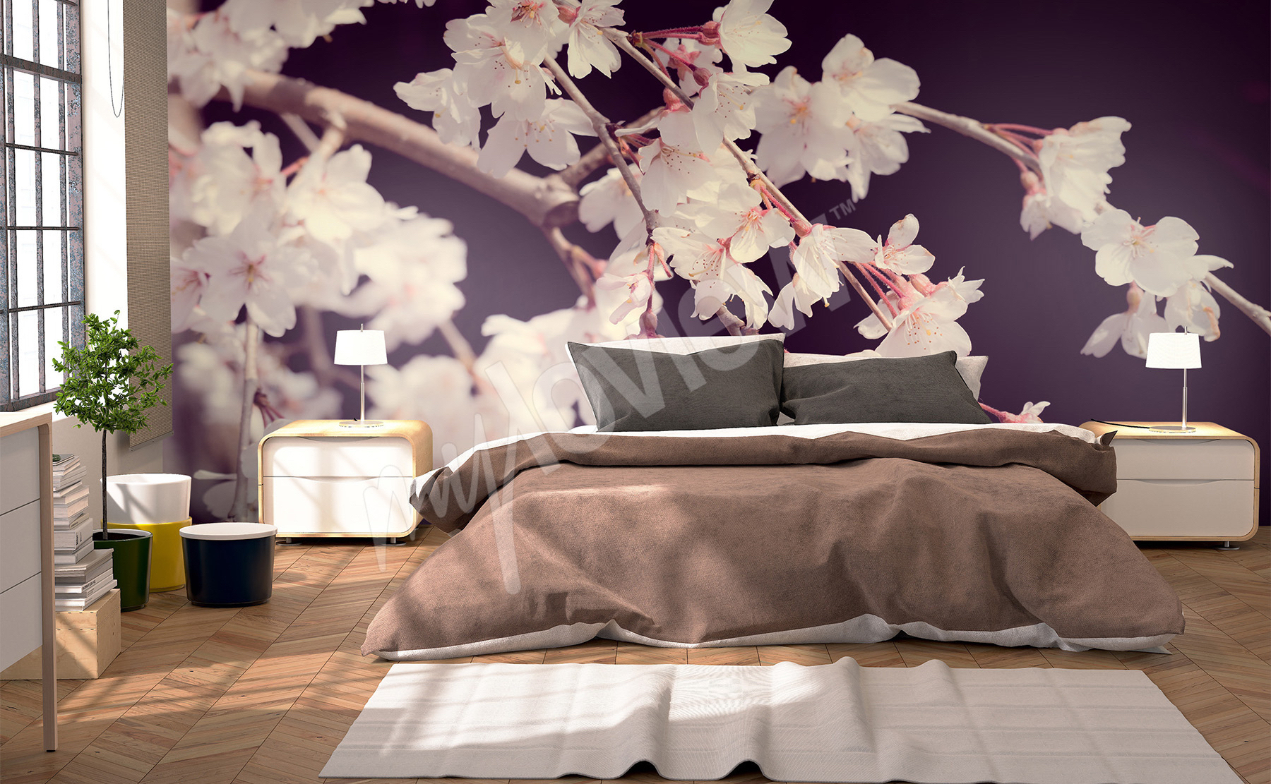 papiers peints chambre coucher mur aux dimensions. Black Bedroom Furniture Sets. Home Design Ideas
