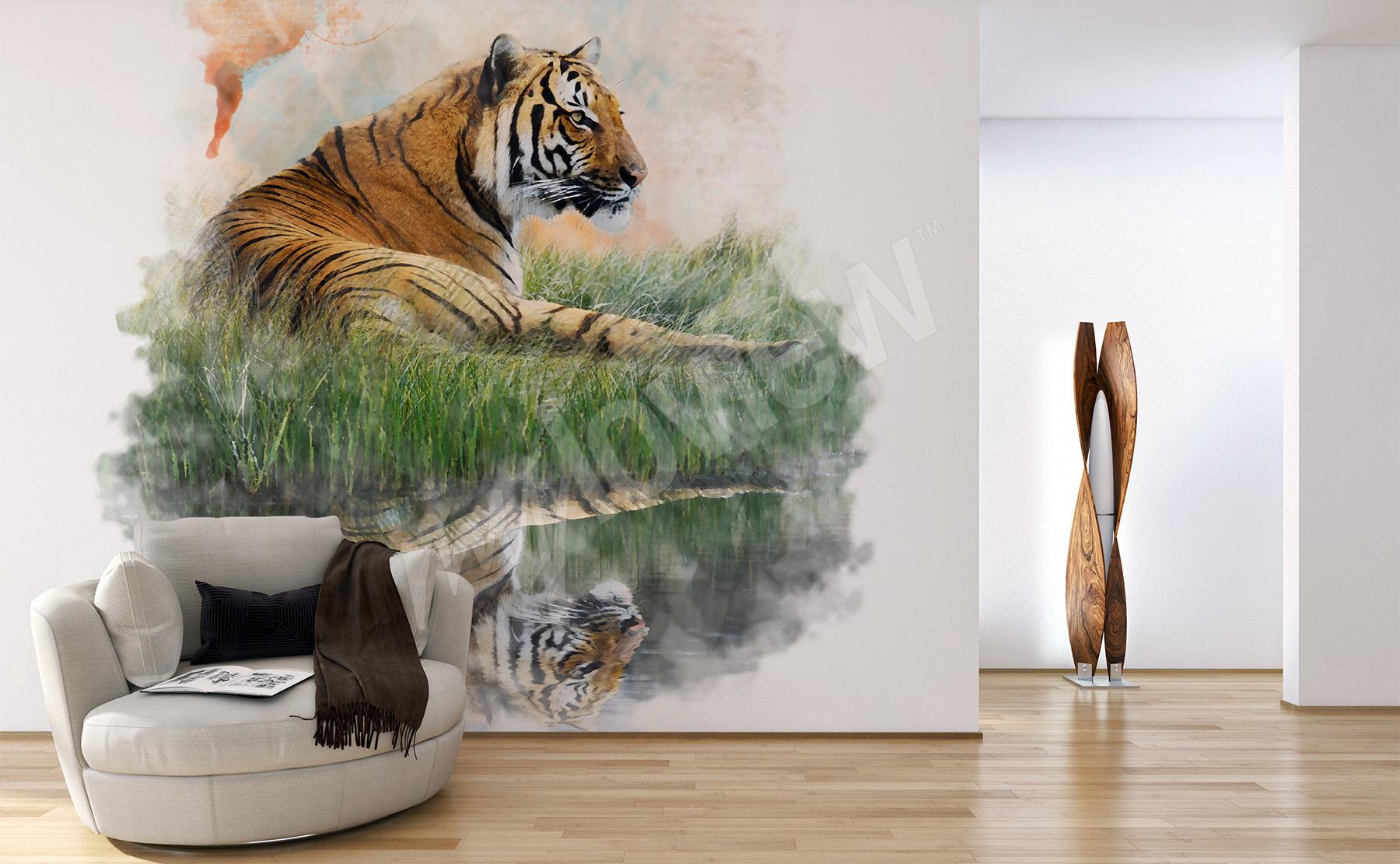 papiers peints tigre mur aux dimensions. Black Bedroom Furniture Sets. Home Design Ideas