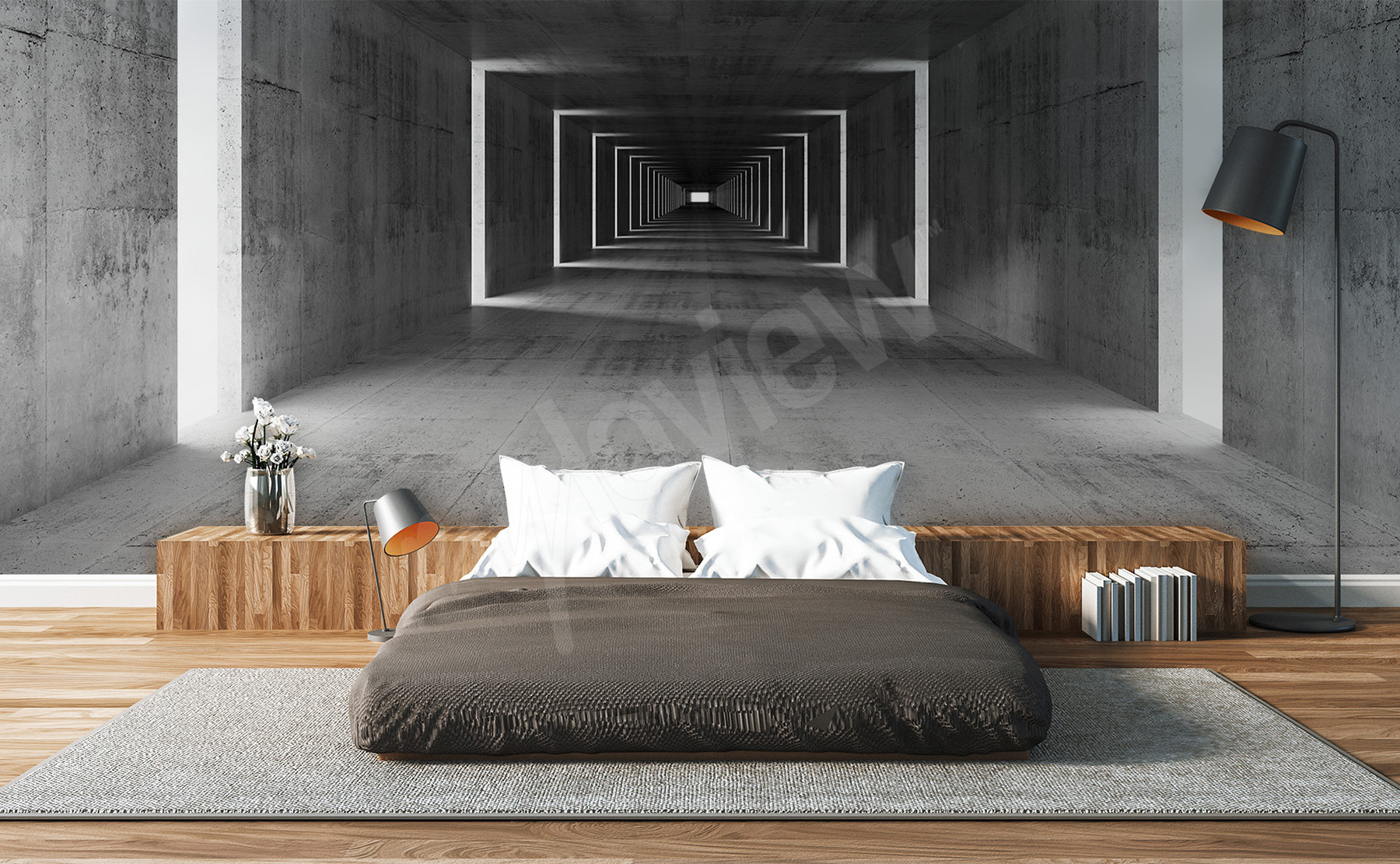 papiers peints tunnels mur aux dimensions. Black Bedroom Furniture Sets. Home Design Ideas