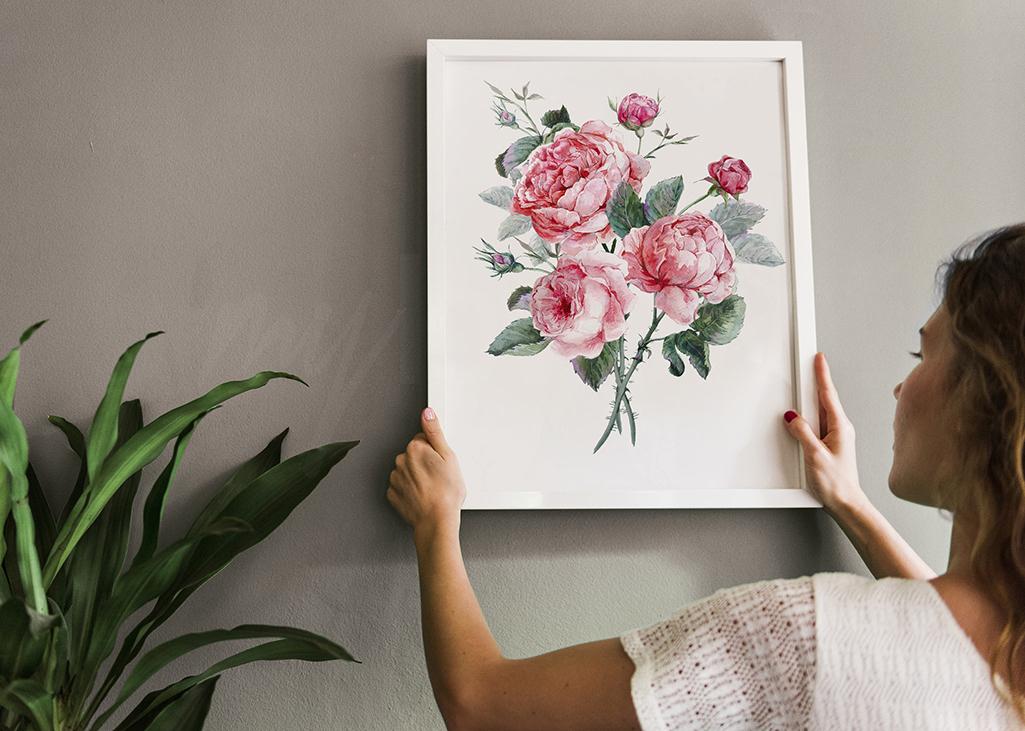 Un poster dans un style floral vous réveillera de la léthargie hivernale et ajoutera des couleurs printanières qui vous feront bénéficier à coup sûr d'une énergie positive dans votre appartement