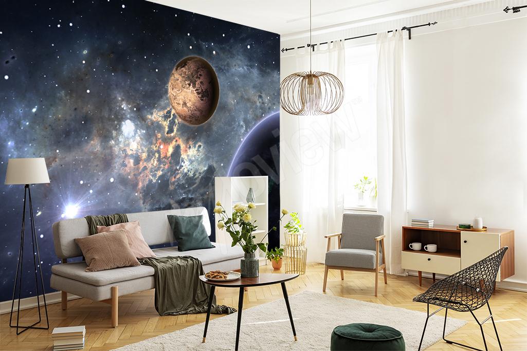 Un salon classique avec un motif galaxy ? Nous sommes totalement pour !