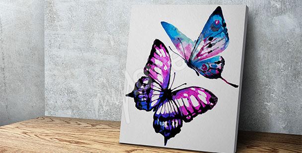 Image aquarelle avec des papillons
