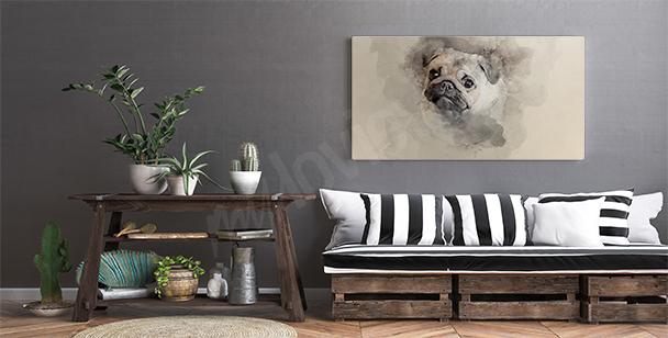 Image aquarelle avec un chien