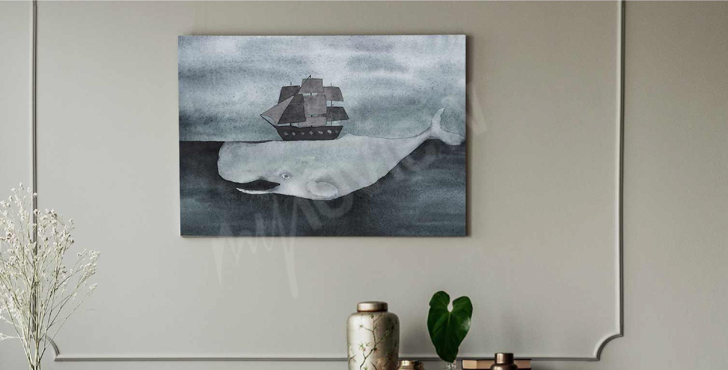 Image aquarelle avec une baleine