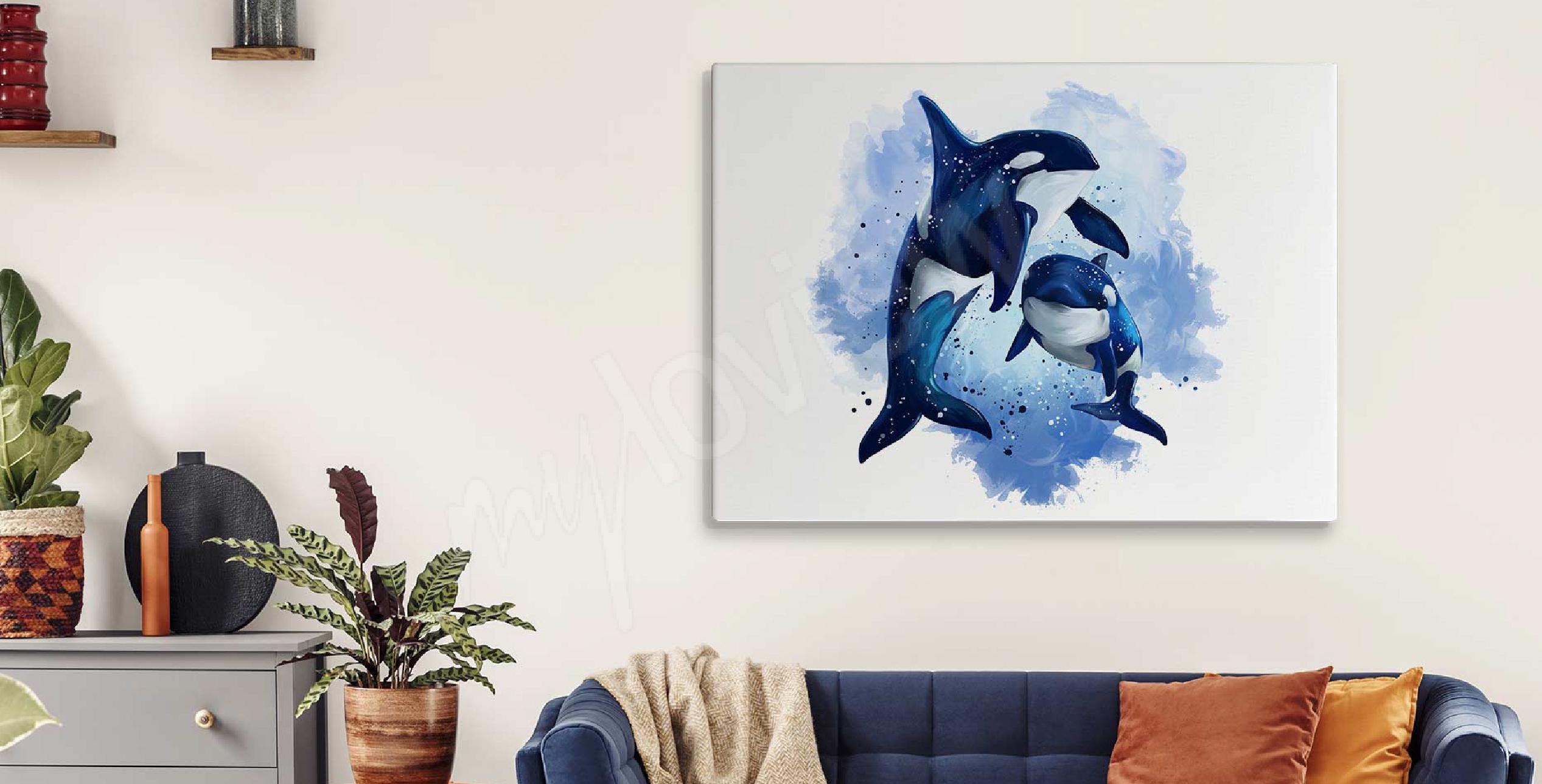 Image aquarelle et dauphins