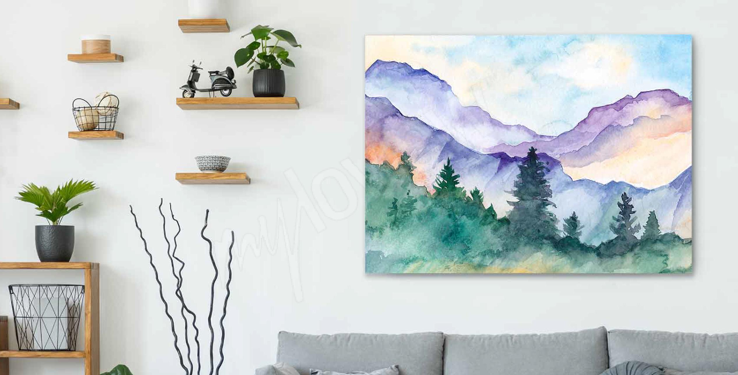 Image aquarelle paysage de montagnes