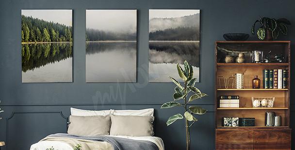 Image brouillard au bord du lac