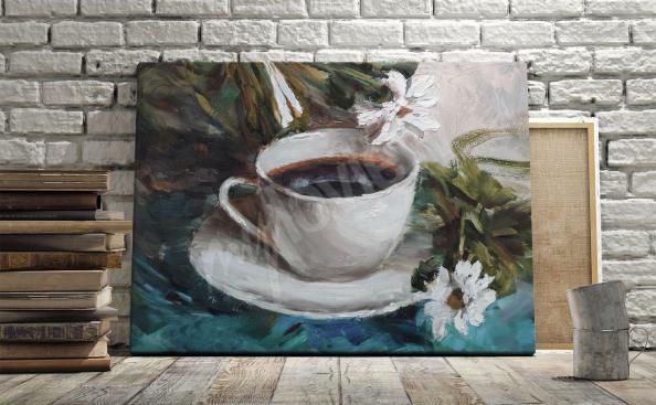 Image café et fleurs