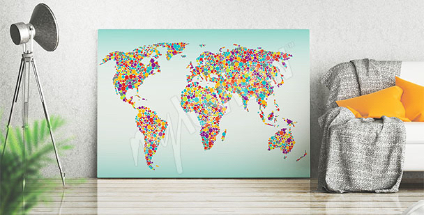 Image carte du monde colorée