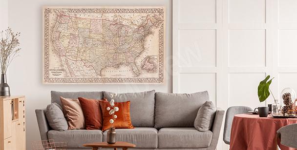 Image carte rétro des États-Unis