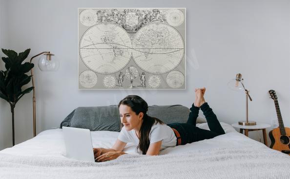 Image carte rétro pour une chambre à coucher
