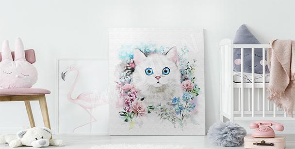 Image chat au milieu des roses