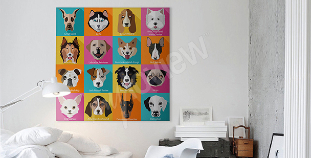 Image chiens style pop art