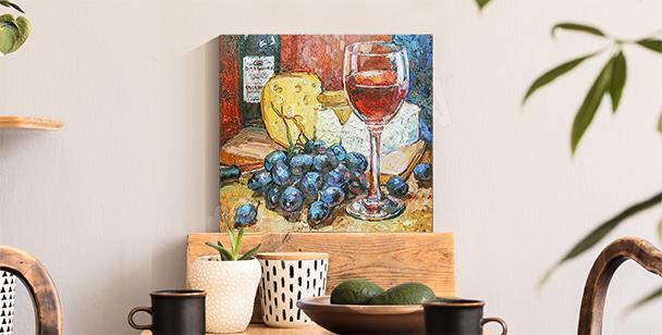 Image colorée fromage et vin