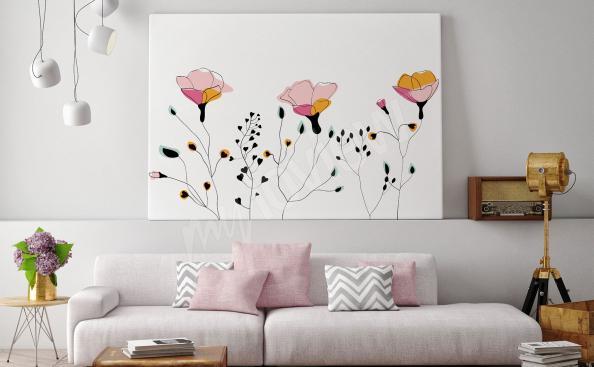 Image croquis de style scandinave de fleurs