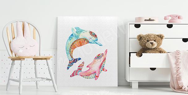 Image dauphins de couleur