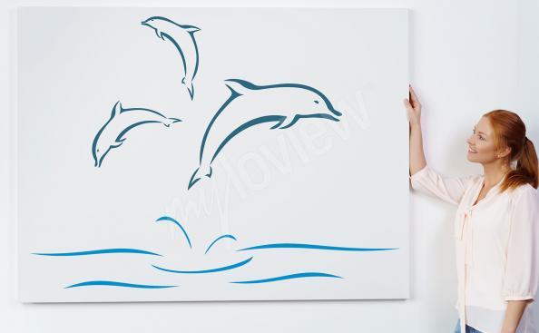 Image dauphins style minimaliste