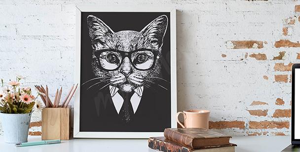 Image de chat en noir et blanc