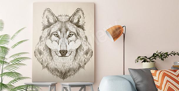 Image de loup en noir et blanc