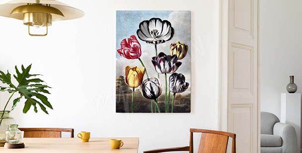 Image en couleurs tulipes sur le ciel