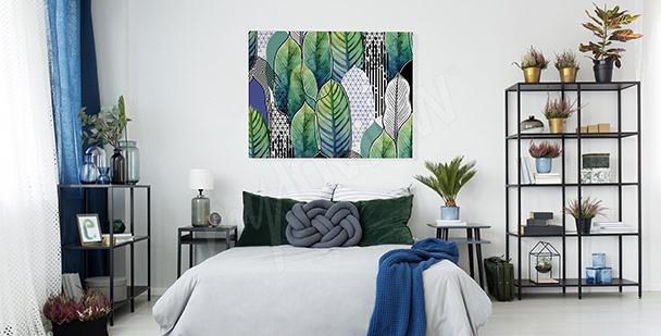 Image feuilles pour chambre à coucher