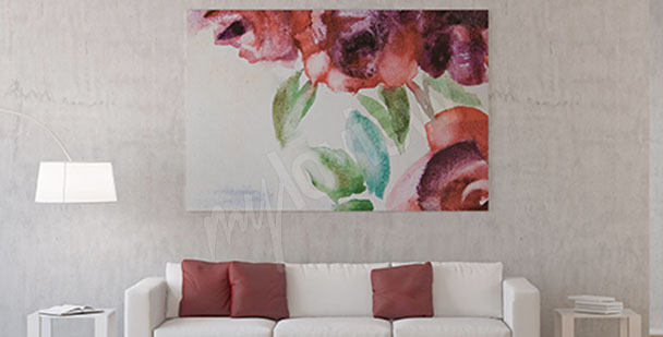 Image fleurs de roses aquarelle