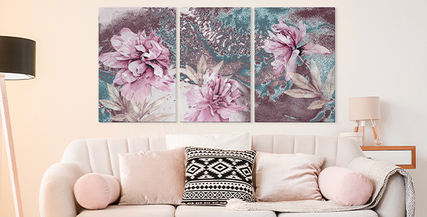 Image floral style - triptyque