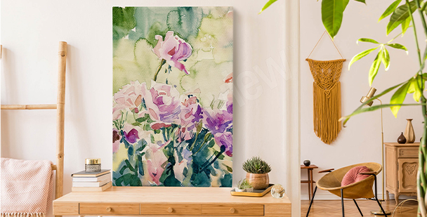 Image roses pour salon