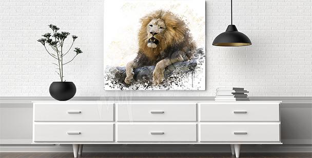 Image lion sur les rochers