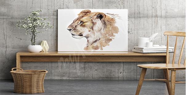 Image lionne aquarelle