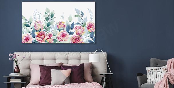 Image murale avec des roses