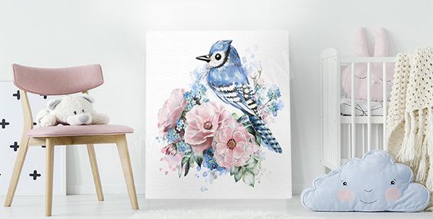 Image oiseau et roses