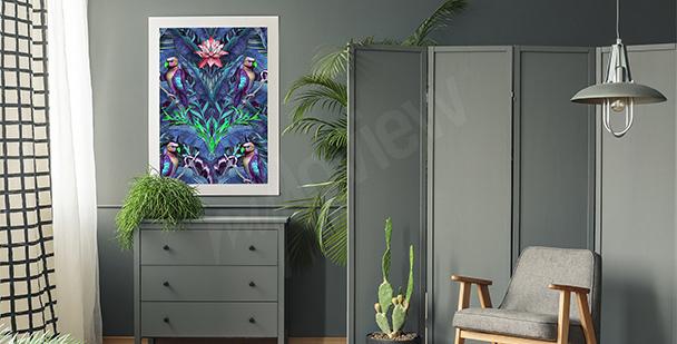 Image oiseaux et feuilles