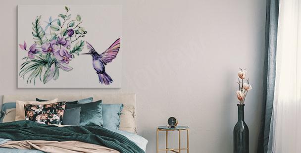 Image orchidée et colibri