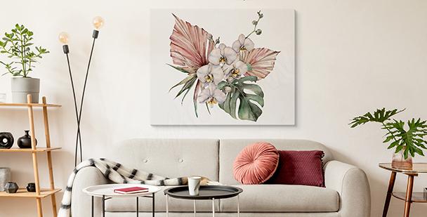 Image orchidée et monstera