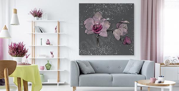 Image orchidée sur fond gris