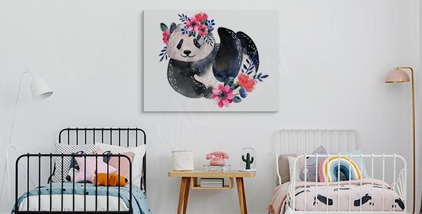 Image panda et fleurs