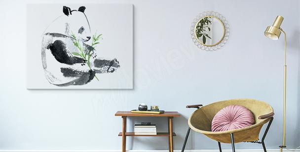Image panda et tige de bambou