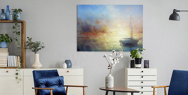 Image pastel avec un bateau
