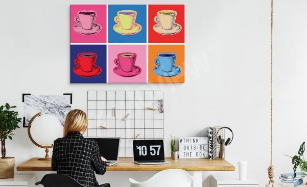 Image pop art avec des tasses pour un bureau