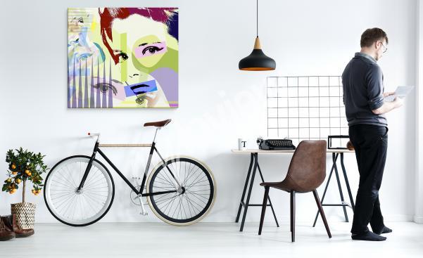 Image pop art avec un portrait de femme en couleur