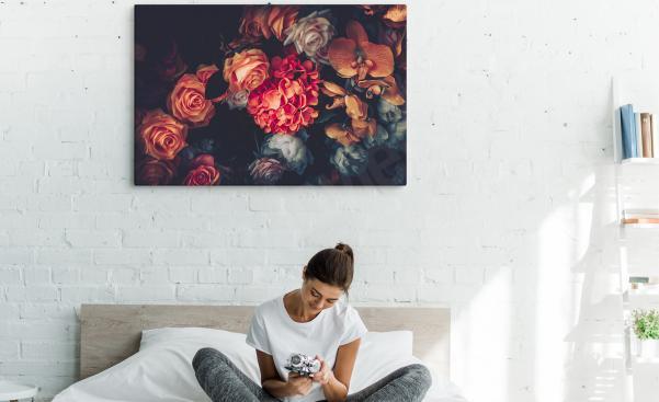 Image pour chambre à coucher avec des fleurs vintage